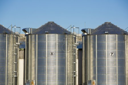 Group of grain silos in Uruguay with blue sky