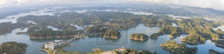 Panorama of the lakes and islands in Guatape taken...