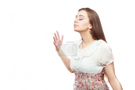 attractive woman wafting air