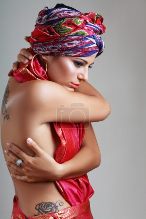 woman in turban and with artistic visage