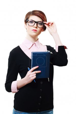 woman presenting book
