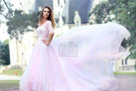 woman in luxurious wedding dress