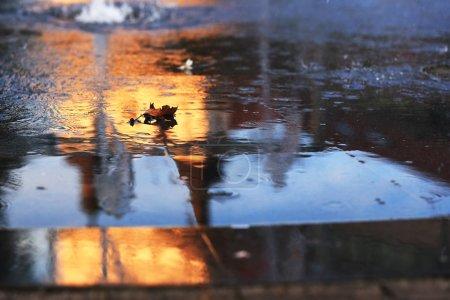 Photo pour Eau sur asphalte avec feuille d'automne et reflet urbain, Trnava, Slovaquie - image libre de droit
