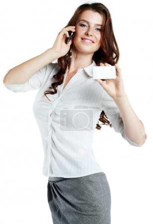 woman hold out blank card
