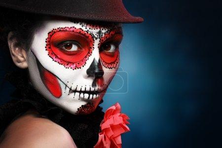 Photo pour Crâne de sucre fille chapeau halloween concept - image libre de droit