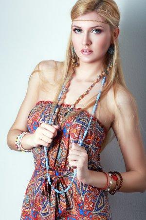 Young hippie caucasian girl