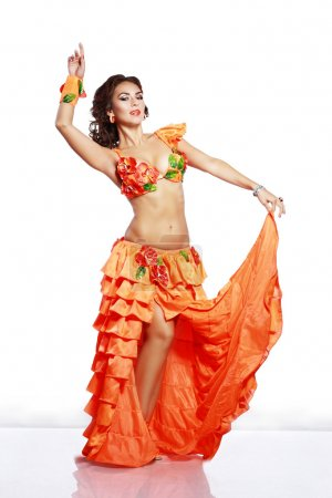 Photo for Beautiful exotic girl with Hawaiian accessories dress - Royalty Free Image