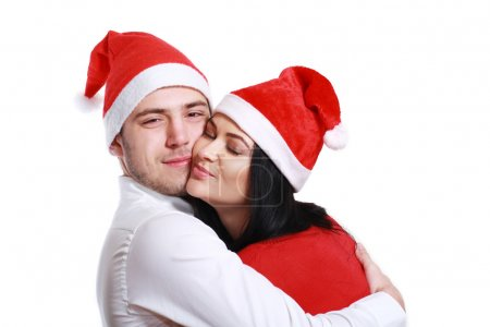 kissing couple in Christmas