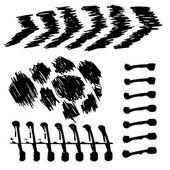 Vector beautiful handmade black strokes painted by brush