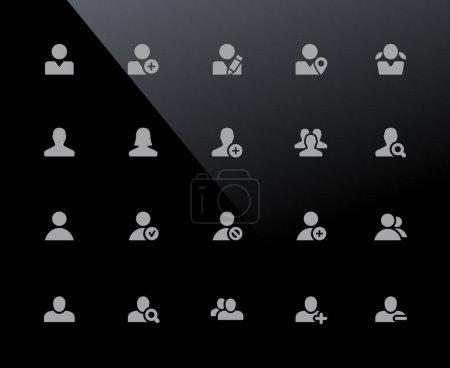 Illustration pour Icônes Avatar / / 32px Noir - icônes vectorielles ajustées pour fonctionner dans une grille de 32 pixels. - image libre de droit