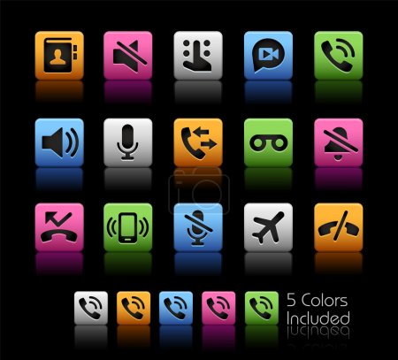 Phone Calls Interface Icons -- ColorBox Series