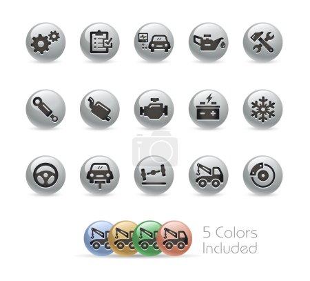 Car Service Icons -- Metal Round Series