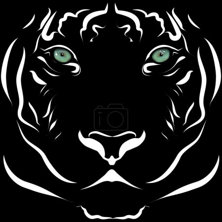 Realistic tiger head image black and white with lively eyes.