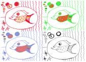 Zeichnung aus der Hand des Kindes, Bild von großen Fischen
