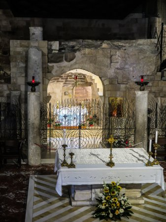 NAZARETH, ISRAEL July 8, 2015; inside the Basilica of the Annunc