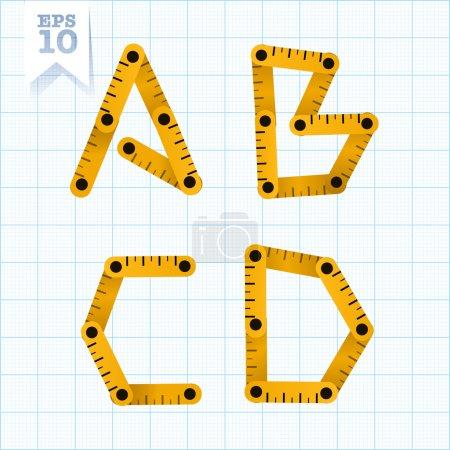 Letters A, B, C, D on a blue graph paper