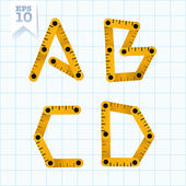 Yellow wooden folding ruler letters A B C D on a blue graph paper Vector flat modern decorative concept typeset