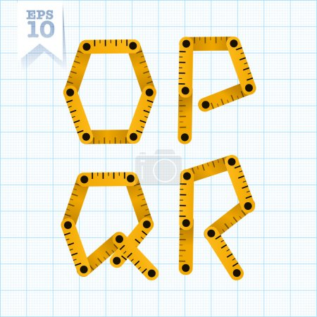 Letters O, P, Q and R on a blue graph paper