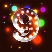 Retro vegas lamps ABC for signboard club cinema or bar - numeral