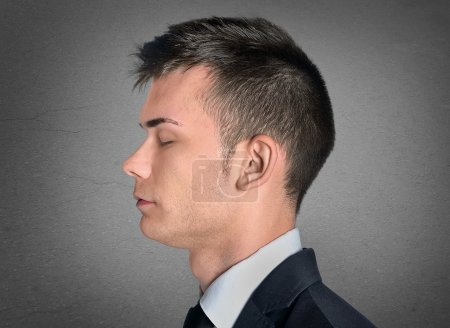 Photo for Business man head closeup with closed eyes - Royalty Free Image