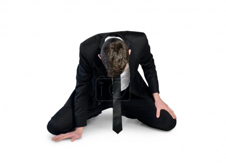 Photo for Isolated business man failure sit down - Royalty Free Image