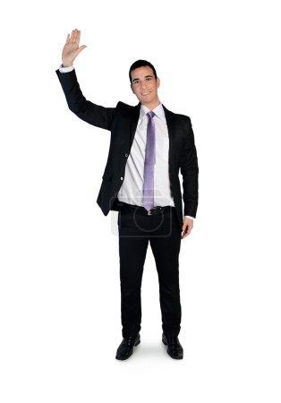 Business man wave hand