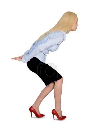 Photo pour Femme d'affaires isolé portez quelque chose - image libre de droit