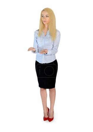 Photo pour Femme d'affaires isolé présentant quelque chose - image libre de droit