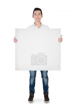 Young man with empty board