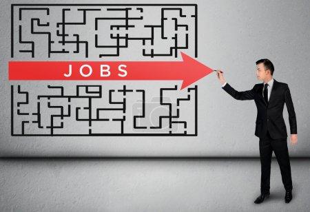 Business man thinking Jobs word maze