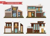 Vector flat illustration traditional and modern house Family home Office building Private pavement backyard with garage Office architecture with beautiful plants and bushes