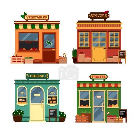 Vector shop illustration, supermarket interior - showcases, fruits, vegetables.