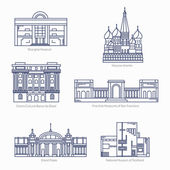 Monuments thin line vector icons Shanghai museum Moscow Kremlin Bank of Brazil Cultural Center Fine Arts Museums of San Francisco Grand Palais National museum of Scotland Famous world museums