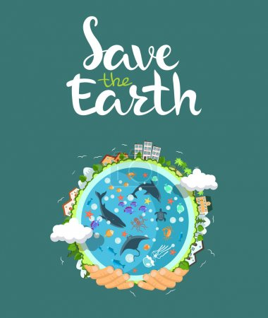 Illustration for Earth day concept. Human hands holding floating globe in space. Save our planet. Flat style vector isolated illustration. EPS 10 - Royalty Free Image