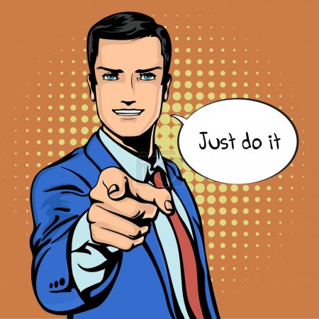 Vector illustration of successful businessman pointing finger in vintage pop art comics retro style. Likes and positive feel. Gesture good, agree and smile.