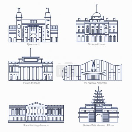 Monuments thin line vector icons. Amsterdam state museum, Somerset House, The National Art Center, State Hermitage Museum, National Folk Museum of Korea. Famous world museums.