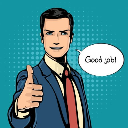 Vector illustration of successful businessman gives thumb up in vintage pop art comics retro style. Likes and positive feel. Gesture good and excellent, agree and smile.