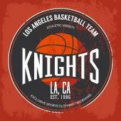 Knights basketball academy team logo or banner with orange ball and text in circle shape For banner on sport gear or sportswear logotype or symbol urban varsity or street t-shirt