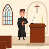 Christian catholic priest preaching at church Holy father in robe or pastor with collar pope with bible and clergyman at liturgy spiritual missionary Can be used for religion or church theme