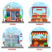 Local store or shop market and stall with goods or counter for groceries factory or plant with chimney and pipes Outdoor exteriors of business buildings and trading constructions eps 10