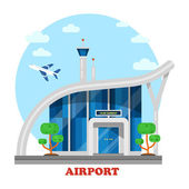 Airport building with flying airplane over tower Jet or plane aircraft vehicle in sky with clouds above terminal Panorama exterior of architecture construction for trips and travels tourists