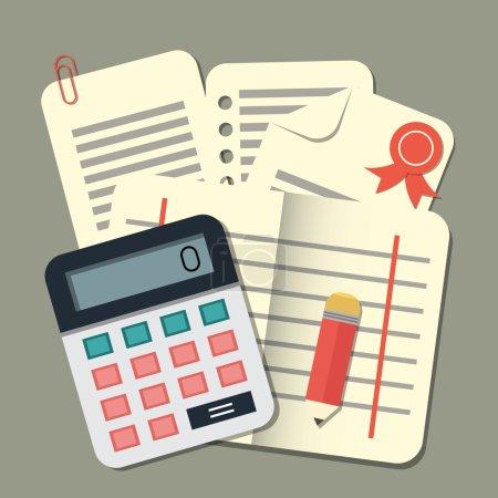 Illustration pour Calculatrice de conception plate et papiers. Comptabilité, illustration vectorielle - image libre de droit