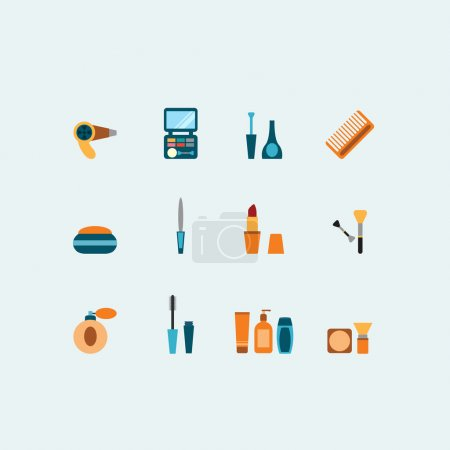 Set of colored vector hairstyling and makeup icons showing mascara  comb  hairdryer  perfume  lipstick  nail varnish  containers  brushes  compact  eye-shadow and blusher