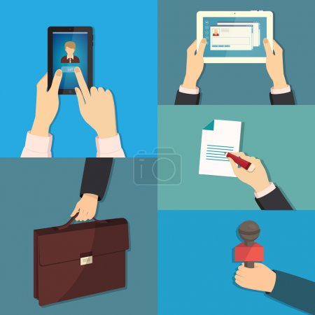 Vector set of hands holding different business objects