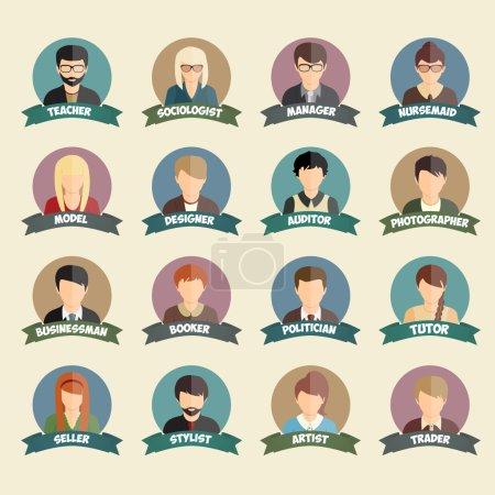 Photo pour Ensemble d'icônes de style plat de gens de profession colorés dans l'illustration vectorielle de cercles - image libre de droit