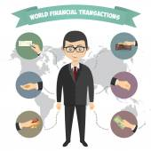 Assorted Vector Mode of Payment Types Drawings Isolated on Background Infographics a businessman engaged in financial transactions around the world