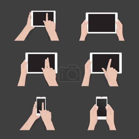 Vector set of commonly used multi-touch gestures f...