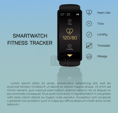 Health care, bracelet, hand, heart rate, time, locality, mileage, fitness tracker, jogging, pace, blue background
