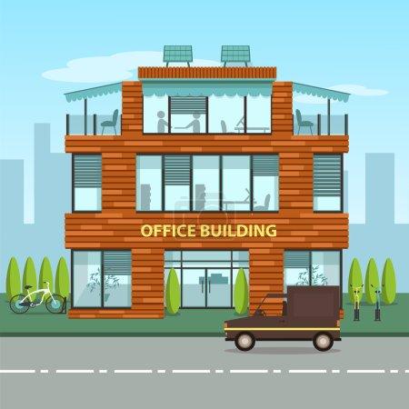 Modern office building in cartoon flat style.