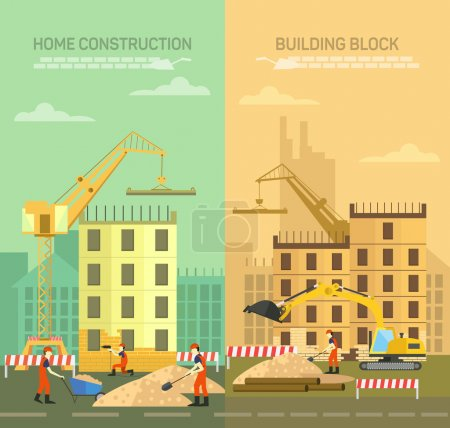 Vector illustration of constructing, building houses